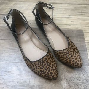 Sole Society Calf Hair Flats with Ankle Straps 5.5